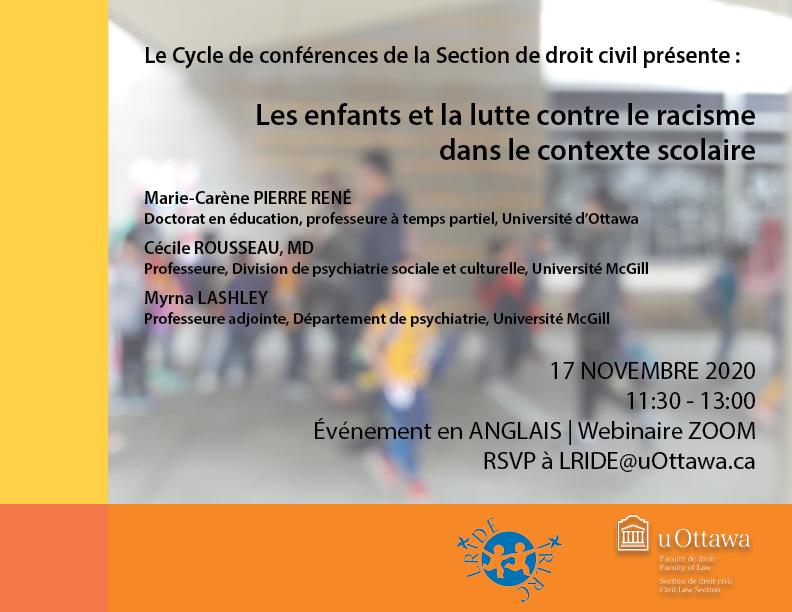 Événement | Les enfants et la lutte contre le racisme dans le contexte scolaire | 17 Nov 2020