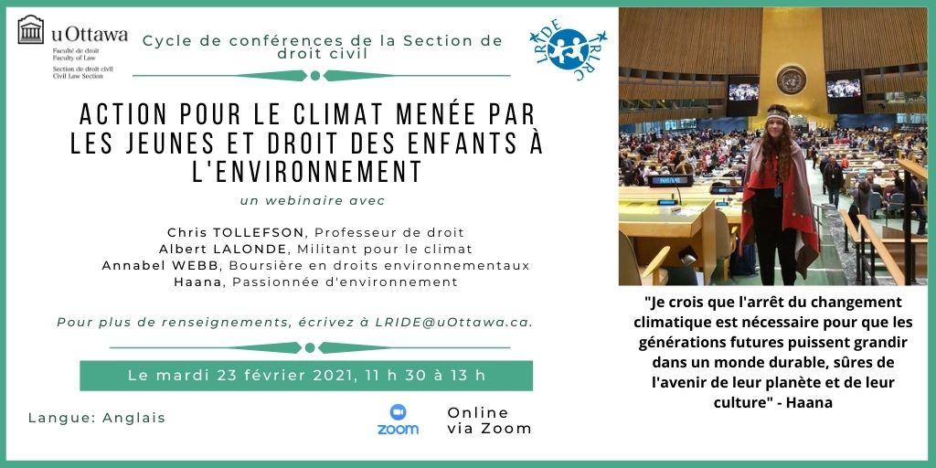 Webinaire sur le droit des enfants à l'environnement