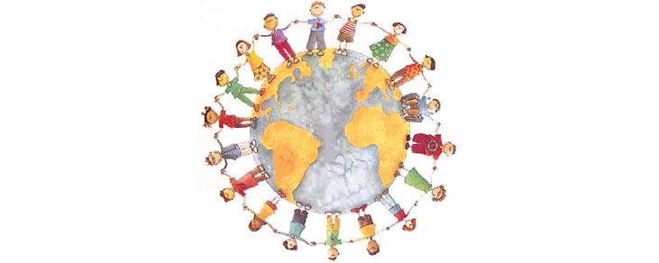 An image of children holding hands around the Earth