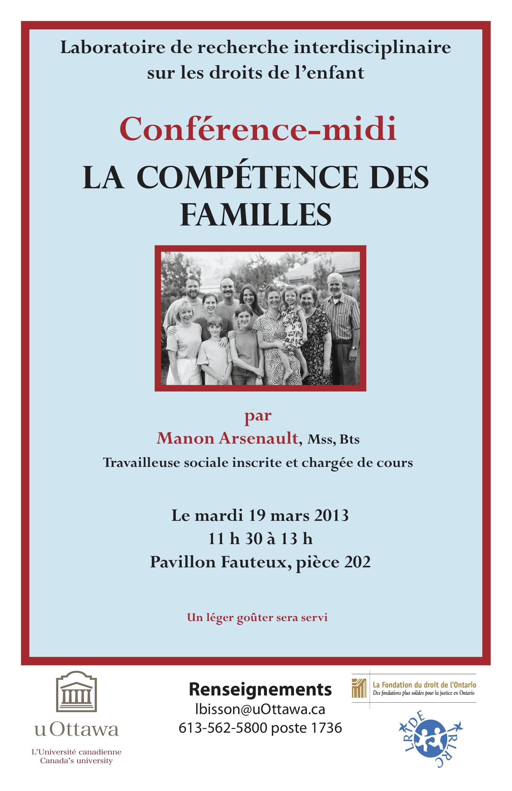 LRIDE 19 mars 2013 La compétence des familles