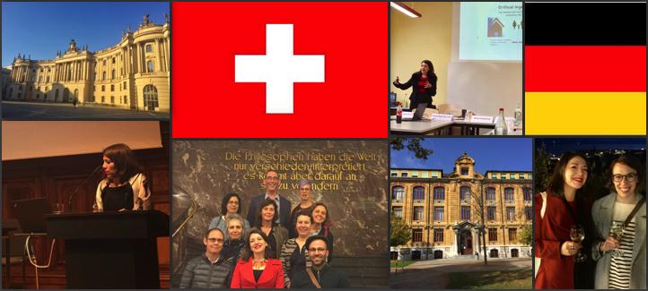 Montage photo du séjour de Pascale Fournier en Europe: drapeau suisse, drapeau allemand, universités visités, photo conférence