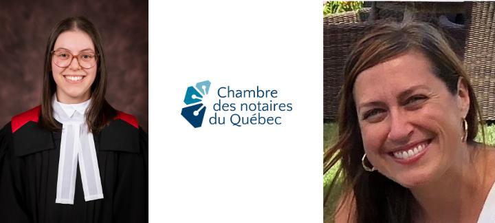 Lauréates et logo de la Chambre des notaires du Québec