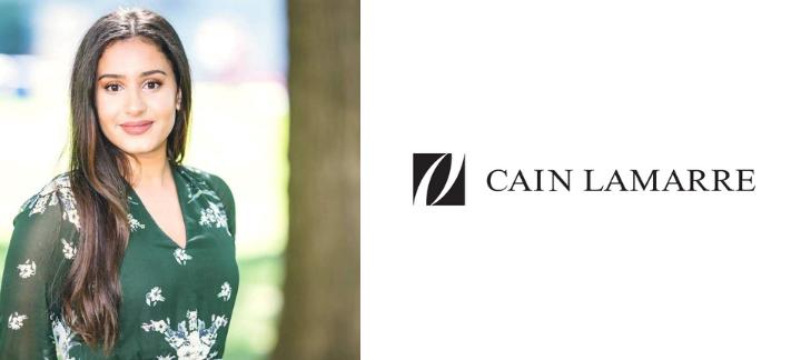 Sarah Ali et logo de Cain Lamarre
