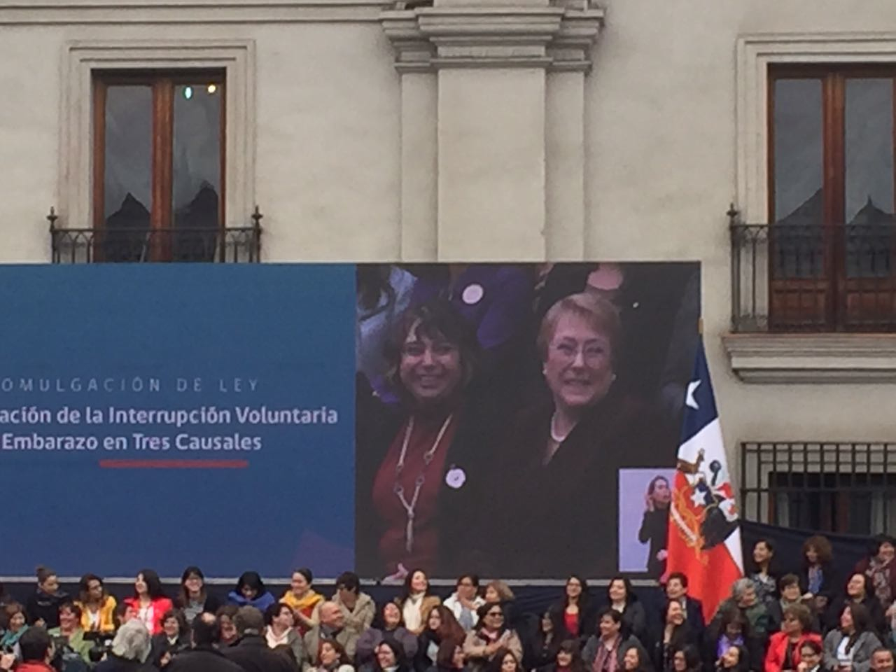 Lidia Casas (on the left) Michelle Bachelet (on the right)