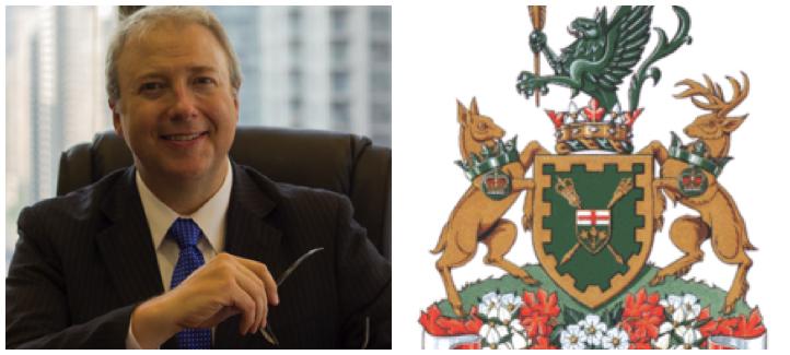 François Boileau et les armoiries de l'Assemblée législative de l'Ontario