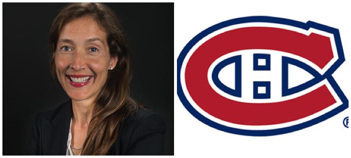 France Margaret Bélanger et logo des Canadiens de Montréal