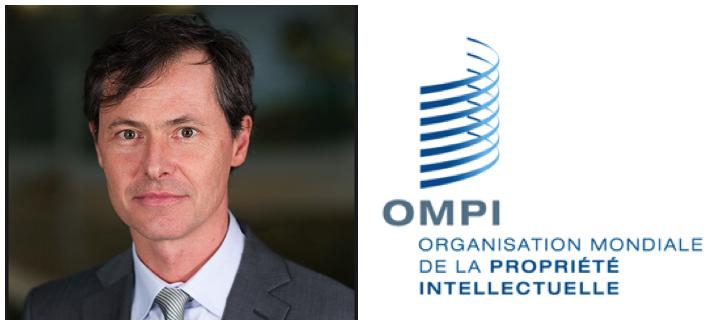 Grégoire Bisson et logo de l'Organisation mondiale de la propriété intellectuelle
