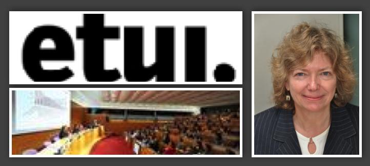 Katherine Lippel, la salle de conférence et le logo de l'ETUI