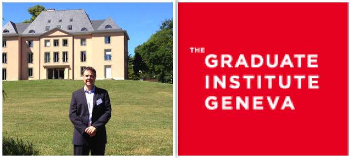 Patrick Dumberry devant le Graduate Institute de Genevève