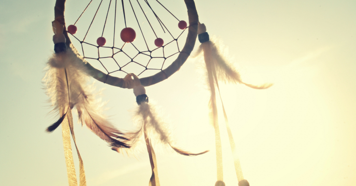 Dream catcher illuminated by the sun