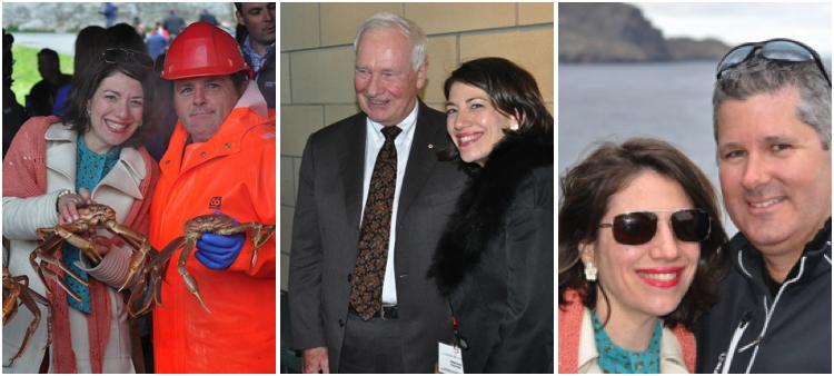 Pascale Fournier avec des pêcheurs de crabe, avec le Gouverneur général et avec Martin Thibodeau