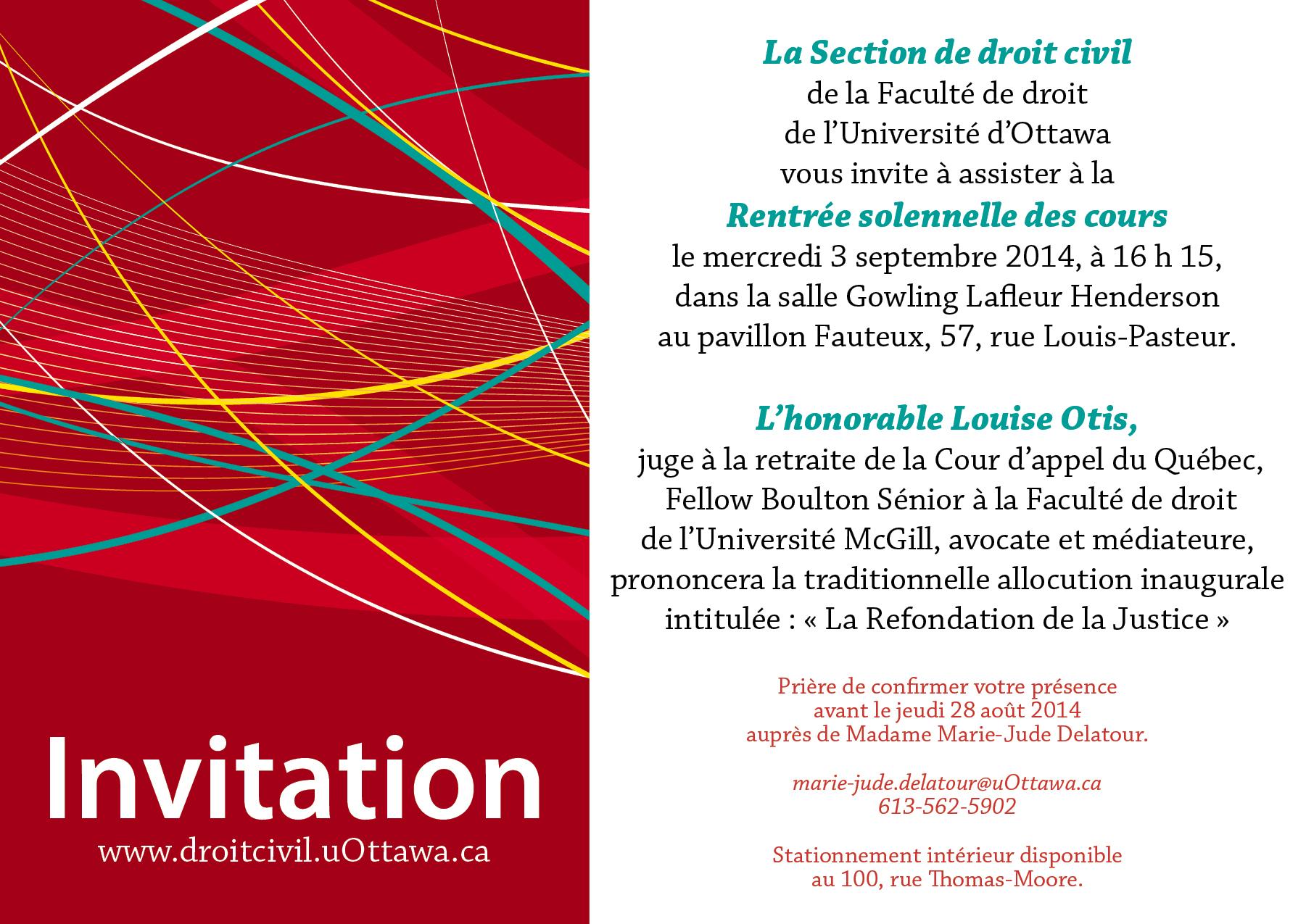 Invitation - rentrée solennelle - le 3 septembre 2014