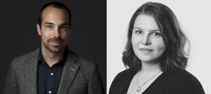 Benoît Prate et Camille Lanthier-Riopel, tous deux en tenue professionnelle décontractée