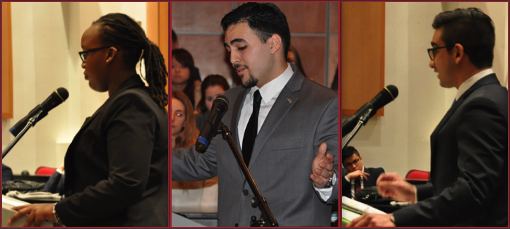 Les finalistes Marilynn Rubayika, Ali Alaoui et David Di Sante