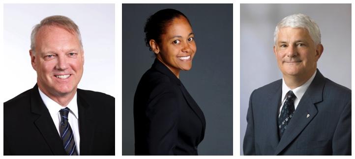 Photo des trois récipiendaires de l'Ordre du mérite 2016: Me André Bourbonnais, Me Johanne Cavé et Me Sylvain Lussier