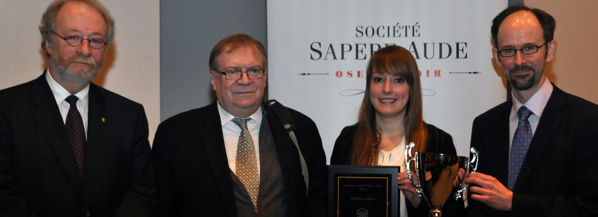 La gagnante de l'édition 2014 du concours oratoire Sapere Aude