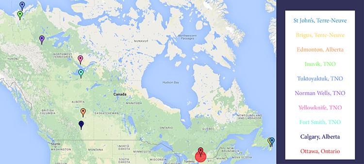 Carte du Canada avec villes visitées